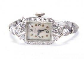Lady's Hamilton Platinum And Diamond Watch