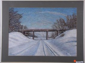 "Stephen Moss 19x27 Pastel ""ridge Road Overpass"""