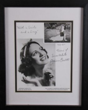 Adriana Caselotti Signed Photo As Snow White