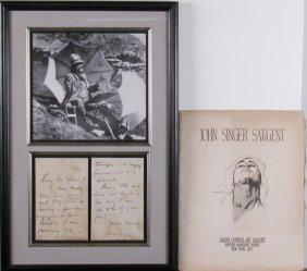 John Singer Sargent Autographed Letter, Drawings