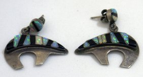 Pair Of Sterling Silver Zuni Bears Earrings