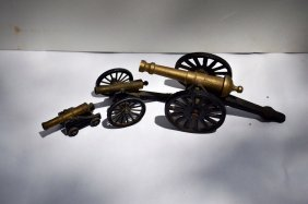 3 Vintage Cast And Brass Miniature Canons