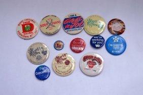 13 Vintage Pin Backs