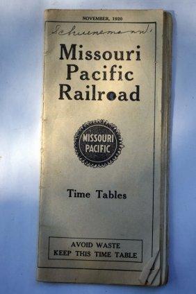 Antique Missouri Pacific Railroad Time Table
