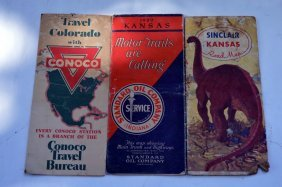 3 Vintage Gas And Oil Road Maps