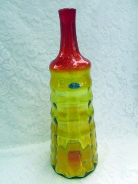 Vintage Blenko Beehive Tangerine Yellow Glass Decanter