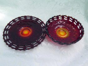 Fenton Ruby Red Amberina Basket Weave Dishes