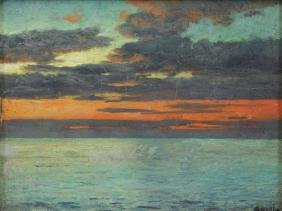 Waugh, Frederick Judd. Oil On Board. Sunset At Sea