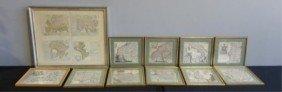 Lot Of Framed Antique Maps.