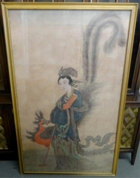 Large Chinese Painting/Print On Silk Of A Woman