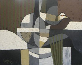 REYNOLDS, Lee. O/C Cubist Abstract With Bird.