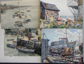 NEWMAN, Joseph. 4 Watercolors Of Rockport Harbor.