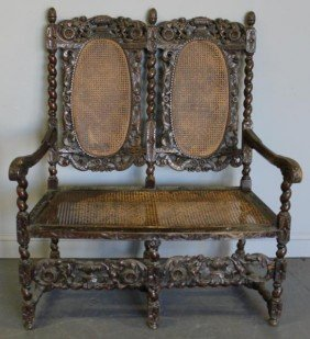 Carved And Caned High Back Bench.