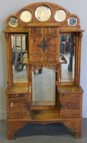 Victorian Maple & Mirrored Back Etagere.