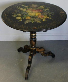 Victorian Stenciled And Painted Tilt Top Table.