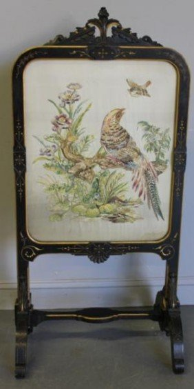 Antique Embroidered Fire Screen.