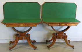Pair Of Regency Rosewood And Brass Inlaid Flip