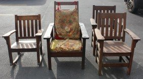4 Mission Oak Chairs. 1 Pair, 1 Single 1 Rocker.