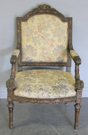 Louis XV Style Carved Armchair.
