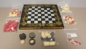 Papier Machier Book Form Game Box With Ivory