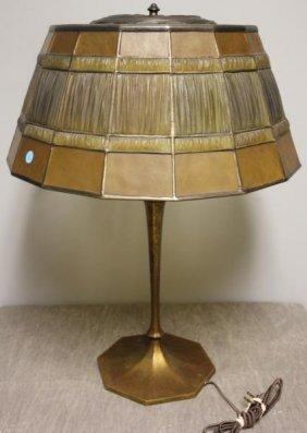 TIFFANY STUDIOS. Table Lamp With Linenfold Shade.