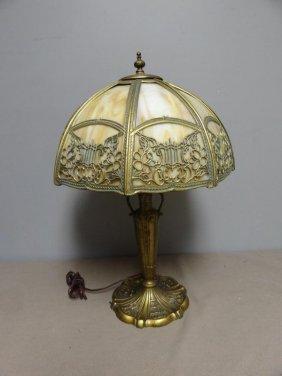 Tiffany Style Slag Glass Lamp.