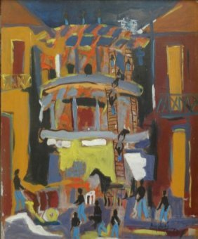 "BOUCARD, Andre. 1958 Oil/Masonite ""Constructions"