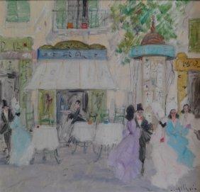 CAGLIANI, Luigi. Impressionist O/C Cafe Scene.