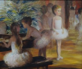 MYERS, Harry. Oil On Canvas Of Young Ballerinas.