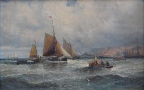 THORNLEY. Oil On Canvas Marine Scene With Fishing