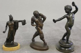 Lot Of 3 Bronzes Including A Child Playing Cymbals