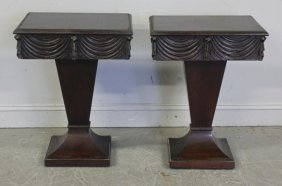 Pair Of One Drawer End Tables With Tassel