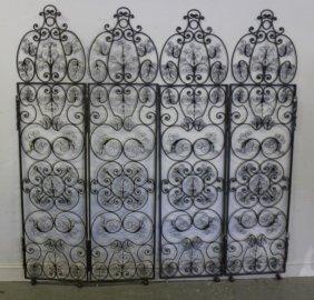 Pair Of Iron Midcentury Filigree 4 Piece Gate.