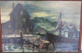 SOBOSSEK, Stanley. Oil On Canvas Harbor Scene.