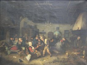 Unsigned Oil On Canvas Tavern Scene.