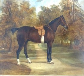 19th Century Oil On Canvas Of A Horse.