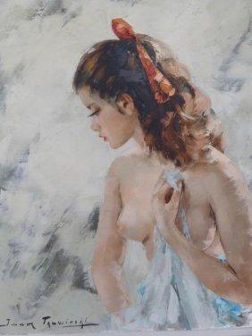 "TALWINSKI, Igor. Oil On Canvas Nude ""Confidence."""