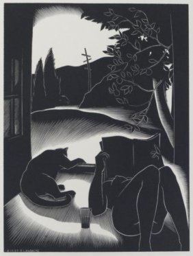 "LANDACRE, Paul. Wood Engraving ""Sultry Day."""