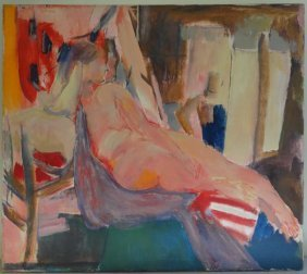 ETTINGER, Stephen. Large O/C Of A Reclining Nude