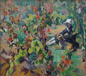 """CLAUDOT, Andrew. Oil On Canvas """"Dans La Vigne"""