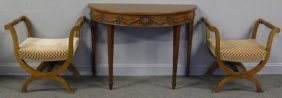 Vintage Furniture Lot To Inc A Carved Demilune