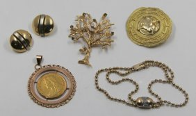 Jewelry. Gold Jewelry Grouping.
