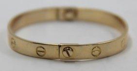Jewelry. Cartier Style 14kt Gold Bracelet.