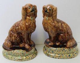 Pair Of Bennington / Rockingham Dogs .