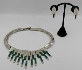 Jewelry. Mexican Silver And Malachite Jewelry