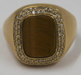 Jewelry. Men's 18kt Gold, Tiger's Eye And Diamond