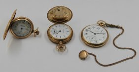Jewelry. Gold Pocket Watch Grouping.