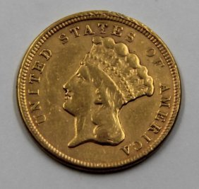 Gold. 1854 $3 Indian Princess Gold Coin.