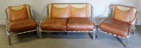 Modern Deco Style Chrome Leather Chair & Sofa Set.