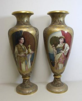 Magnificent Pair Of Royal Vienna Porcelain Palace Urns.